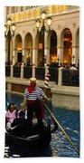 Gondola Ride Inside Venetian Hotel Beach Towel