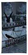 Gothic Surreal Night Gargoyle And Ravens - Moonlit Cemetery With Gargoyles Ravens Beach Towel