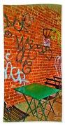 Grafitti Dining Beach Towel by Joan  Minchak
