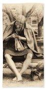 Granny Sitting On A Bench Knitting Ursinus College Beach Towel