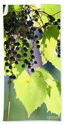Grapes And Leaves Beach Towel