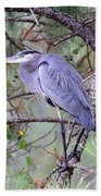 Great Blue Heron - Happy Place Beach Towel