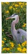 Great Blue Heron In The Flowers Beach Towel