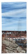 Great Falls Rr Bridge 10477c Beach Towel