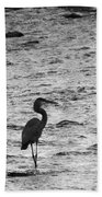 Great Grey Heron Silhouette Beach Towel