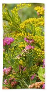 Great Southern White Butterfly Likes The Pink Flowers Beach Towel