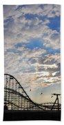 Great White Roller Coaster - Adventure Pier Wildwood Nj At Sunrise Beach Towel
