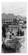 Greek Immigrants Fleeing Patras Greece - America Bound - C 1910 Beach Towel