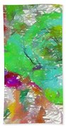 Green Abstract Rose Beach Towel
