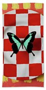 Green And Black Butterfly On Red Checker Plate Beach Towel