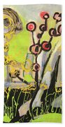 Green And Blue Weed Painting Beach Towel