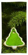Green Branches Of A Christmas Tree Beach Towel