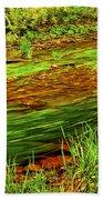 Green Forest River Beach Towel
