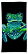 Green Ghost Frog Beach Towel