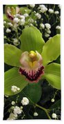 Green Orchid In Baby's Breath Beach Towel