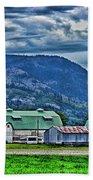 Green Roofed Barn-hdr Beach Towel