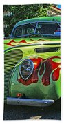 Green With Flames Hdr Beach Towel