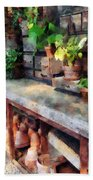 Greenhouse With Flowerpots Beach Towel