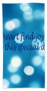 Greeting Card Blue With White Lights Beach Towel