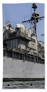Guided Missile Cruiser Uss Bunker Hill Beach Towel