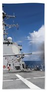 Guided-missile Destroyer Uss Pinckney Beach Towel