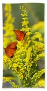 Gulf Fritilaries On Golden Rod Beach Towel