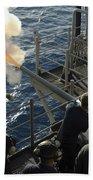 Gunners Mates Fire The .40mm Saluting Beach Towel by Stocktrek Images
