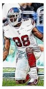 Hakeem Nicks - Sports - Football Beach Towel by Paul Ward