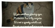 Halloween Calico Cat And Poem Greeting Card Beach Towel