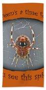 Halloween Greeting Card - Marbled Orb Weaver Spider Beach Towel