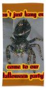 Halloween Party Invitation - Salticid Jumping Spider Beach Towel