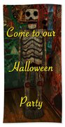 Halloween Party Invitation - Skeleton Beach Towel