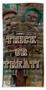 Halloween Trick Or Treat Skeleton Greeting Card Beach Towel