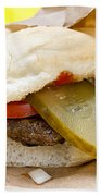 Hamburger With Pickle And Tomato Beach Towel