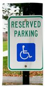 Handicapped Parking Sign Beach Towel by Photo Researchers
