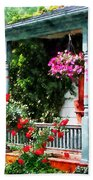 Hanging Baskets And Climbing Roses Beach Towel
