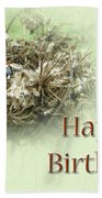 Happy Birthday Greeting Card - Ladybug On Dried Queen Anne's Lace Beach Towel