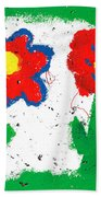 Happy Colorful Flowers Beach Towel