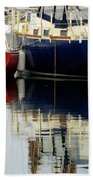 Harbor Reflections  Beach Towel by Bob Christopher