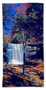 Harrison Wright Falls In Fall Beach Towel