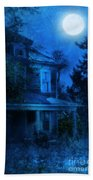 Haunted House Full Moon Beach Towel by Jill Battaglia
