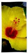 Hawaiian Yellow Hibiscus Beach Towel
