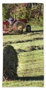Hay Bale And Tractor Beach Towel
