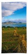 Hay Bales In A Field, Ireland Beach Towel