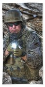 Hdr Image Of A German Army Soldier Beach Towel