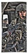 Hdr Image Of A Uh-60 Black Hawk Door Beach Towel