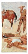 He Lay Where He Had Been Jerked Still As A Log  Beach Towel by Frederic Remington