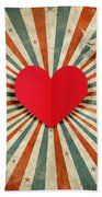Heart And Cupid With Ray Background Beach Towel