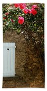 Heart Shutters And Red Roses Beach Towel