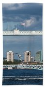 Helicopters And Tower Bridge Beach Towel